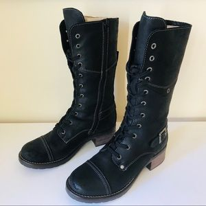 New Taos Tall Crave Black Combat Moto Boot 38